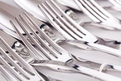 Close up of flatware forks. Close up detail of flatware forks stock image