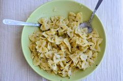 Farfalle. Close up of  Flavorful delicious   traditional italian meal pasta   farfalle with parmesan cheese . Mediterranean food concept Royalty Free Stock Images