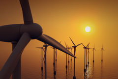 Close up of floating wind farm turbine. Stock Images
