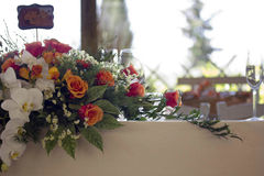 Close up of a floral bouquet as a centrepiece Royalty Free Stock Image