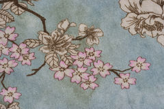 Close-up of a floral design on fabric Royalty Free Stock Photo