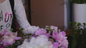 Close up florist making a bouquet of peones stock footage
