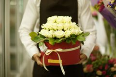 Close-up of florist holding flowers on a blurred background. Man presenting a bouquet. Decor concept. Stock Photography