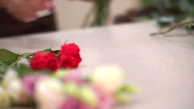 Close-up of the florist`s table, it is beautiful red flowers that collect a bouquet. Small business stock video