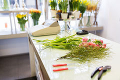 Close up of floristic tools on flower shop counter Stock Photography