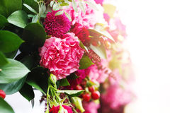 Close up of flower arrangement in wedding day Royalty Free Stock Photography