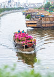 Close up flower boat on river suftwaves rays sunset Stock Photos