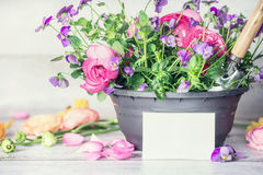 Close up of Flowers pot with shovel and white paper greeting card on table, front view, container gardening Stock Photos