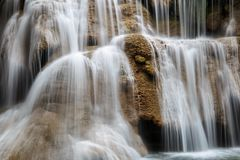 Close up flowing water at Huai Mae Khamin waterfall in deep forest. Thailand royalty free stock photo
