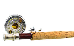 Close up of fly fishing rod and reel on white background Stock Image