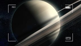 Close-up Fly-by of the Planet Saturn. Saturn animation. Planet Saturn Majestic Front View Animation
