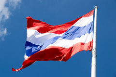 Close up flying the Thailand flag abstract background Royalty Free Stock Images