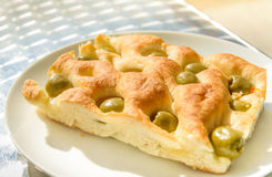 Close up of foccacia olive bread. Typical food of Liguria, Italy Stock Images