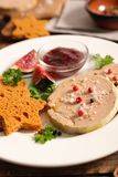 Foie gras with gingerbread. Close up on foie gras with gingerbread stock image