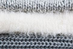 Close up of folded sweaters Royalty Free Stock Photos
