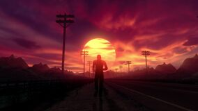 Close up follow shot of man on an empty road running to the sunset seamless loop