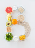 Close up of food ingredients in letter b shape Royalty Free Stock Photo