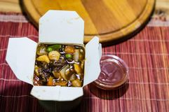 Take out food close up photography. Chinesee food photo. royalty free stock photos