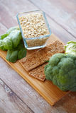 Close up of food rich in fiber on wooden table Stock Image
