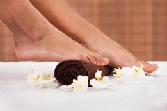 Close-up of foot getting spa treatment Royalty Free Stock Photo