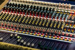 Close up footage of audio mixer. Sound control panel at concert. Close up footage of audio mixer. Sound control panel royalty free stock photography