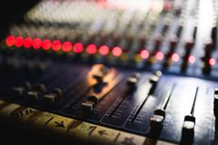 Close up footage of audio mixer. Sound control panel at concert. Close up footage of audio mixer. Sound control panel stock image