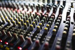 Close up footage of audio mixer. Sound control panel at concert. Close up footage of audio mixer. Sound control panel stock photo