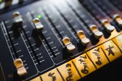 Close up footage of audio mixer. Sound control panel at concert. Close up footage of audio mixer. Sound control panel stock photography