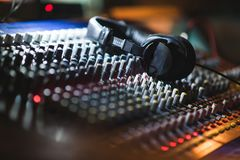 Close up footage of audio mixer. Sound control panel at concert royalty free stock images