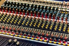 Close up footage of audio mixer. Sound control panel at concert. Close up footage of audio mixer. Sound control panel royalty free stock photos