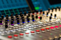 Close up footage of audio mixer Royalty Free Stock Photography