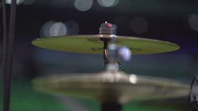 Close up footage of two drum sticks hitting a drum plates stock video