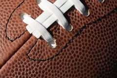 Close-up of football. Close-up of American football and laces Stock Photography