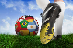Close up of football boots at back of net Stock Photo