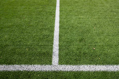 Close up of football field with line and grass Royalty Free Stock Images