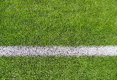 Close up of football field with line and grass Stock Photography