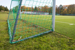 Close up of football goal on field Stock Photography