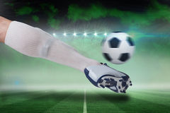Close up of football player kicking ball Royalty Free Stock Photos