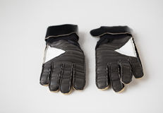 Close up of football or soccer goalkeeper gloves Stock Photo