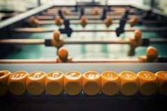 Close up football table game. Selective focus Stock Images