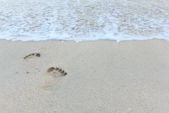 Close up footprint in clean sand. Close up footprint in clean sand, on the beach Stock Images