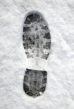 Close up of a footprint in the snow. Stock Images