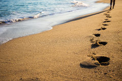 Close up of footprints on the beach Royalty Free Stock Photo