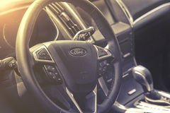 Close up on Ford C-Max sterring wheel Stock Photo