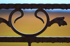 Close-up of forged detail in raindrops Stock Photography