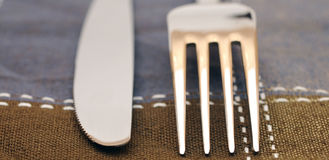 Close up fork and knife Stock Photography
