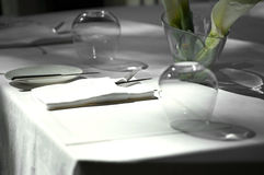 Close up fork and knife on table Stock Photography