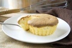 Close up fork on sponge cake Royalty Free Stock Image
