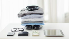 Close up of formal clothes and personal stuff Stock Image