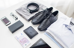 Close up of formal clothes and personal stuff Stock Images